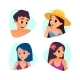Set of Summer Cartoon Avatars. Cartoon Style