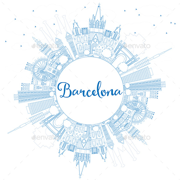 Outline Barcelona Skyline with Blue Buildings and Copy Space - Buildings Objects