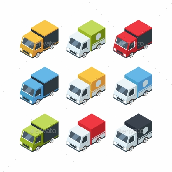 Set of Isometric Cartoon-style Cargo Cars - Objects Vectors