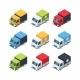 Set of Isometric Cartoon-style Cargo Cars