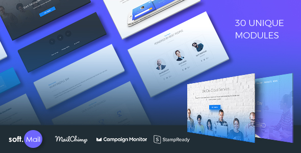 Softmail Responsive Email Template with Stampready Online Editor