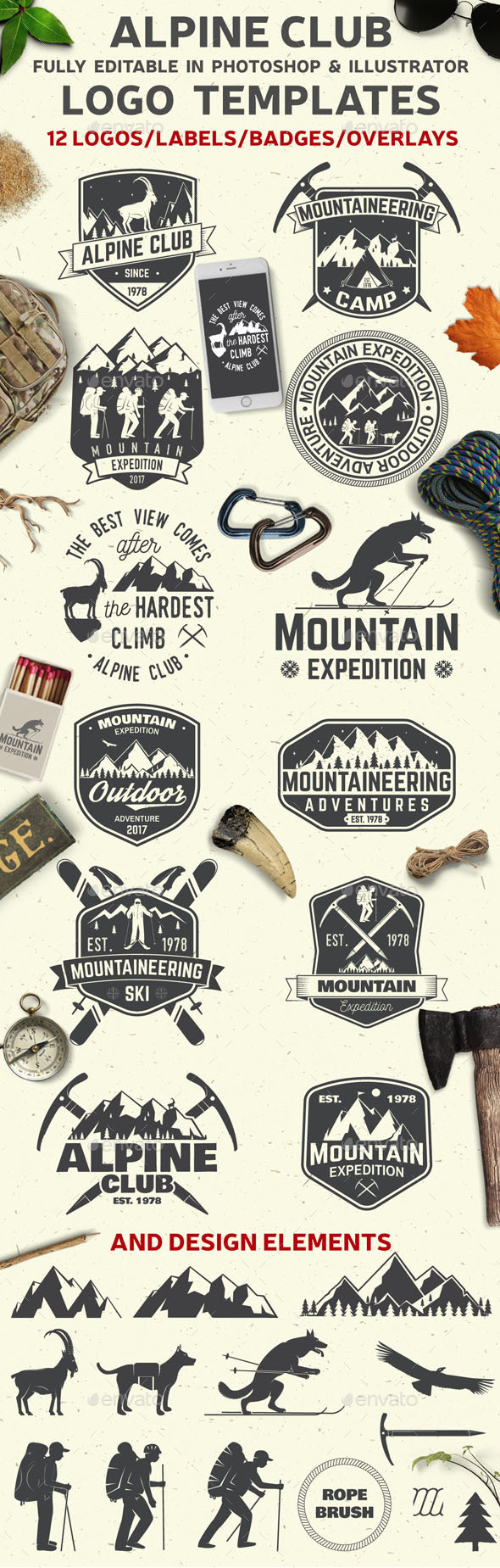 Alpine Club Vintage Collection - Badges & Stickers Web Elements