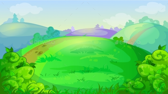 Vector Game Background with Summer Meadow - Landscapes Nature