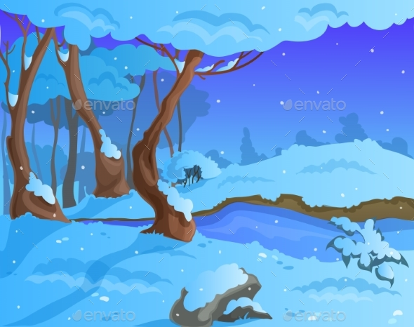 Cartoon Winter Background for a Game Art - Landscapes Nature