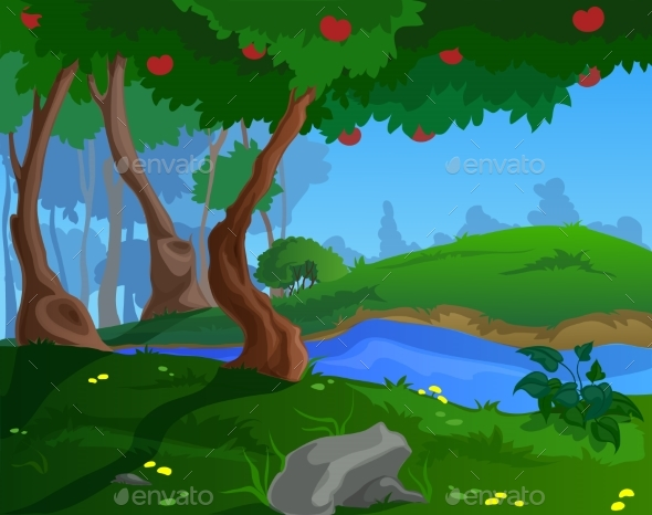 Cartoon Summer Background for a Game Art - Landscapes Nature
