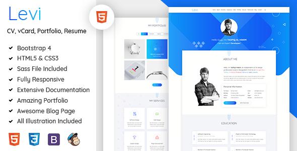 Levi – vCard / CV / Resume & Portfolio Bootstrap 4            nulled