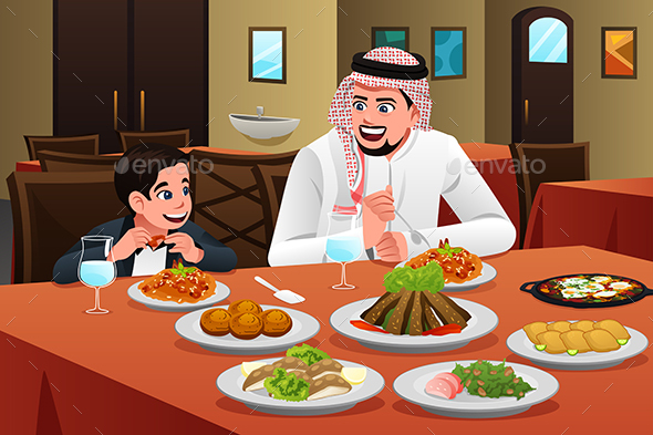 Muslim Arabian Man Eating With His Son - People Characters