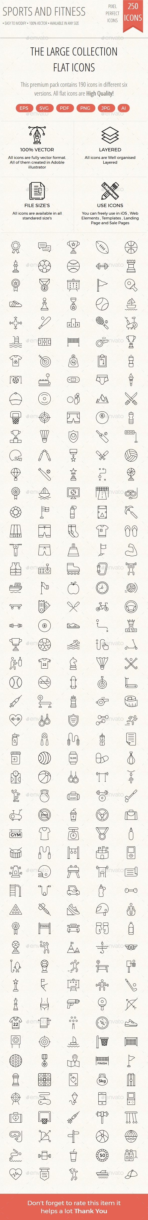 250+ Sport and Fitness thin line - Web Icons