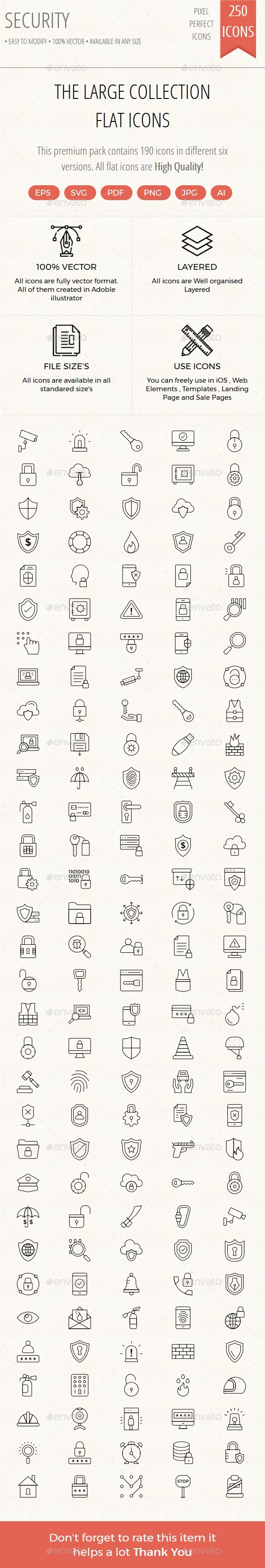 150+ Security thin line vol 1 - Web Icons