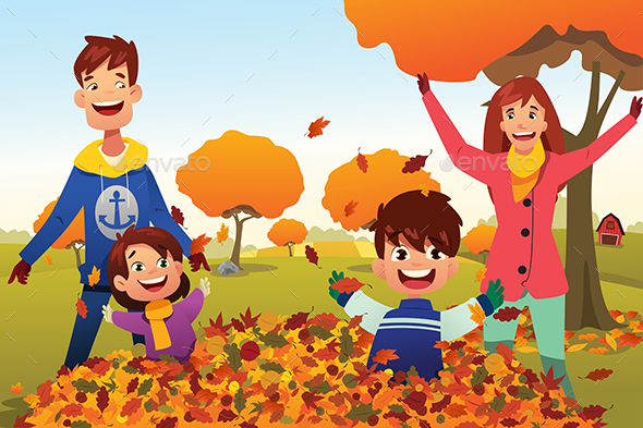 Family Celebrates Autumn Season Outdoors - People Characters