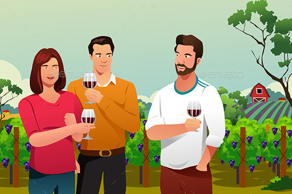 GraphicRiver People Drinking Wine at Winery 20535391