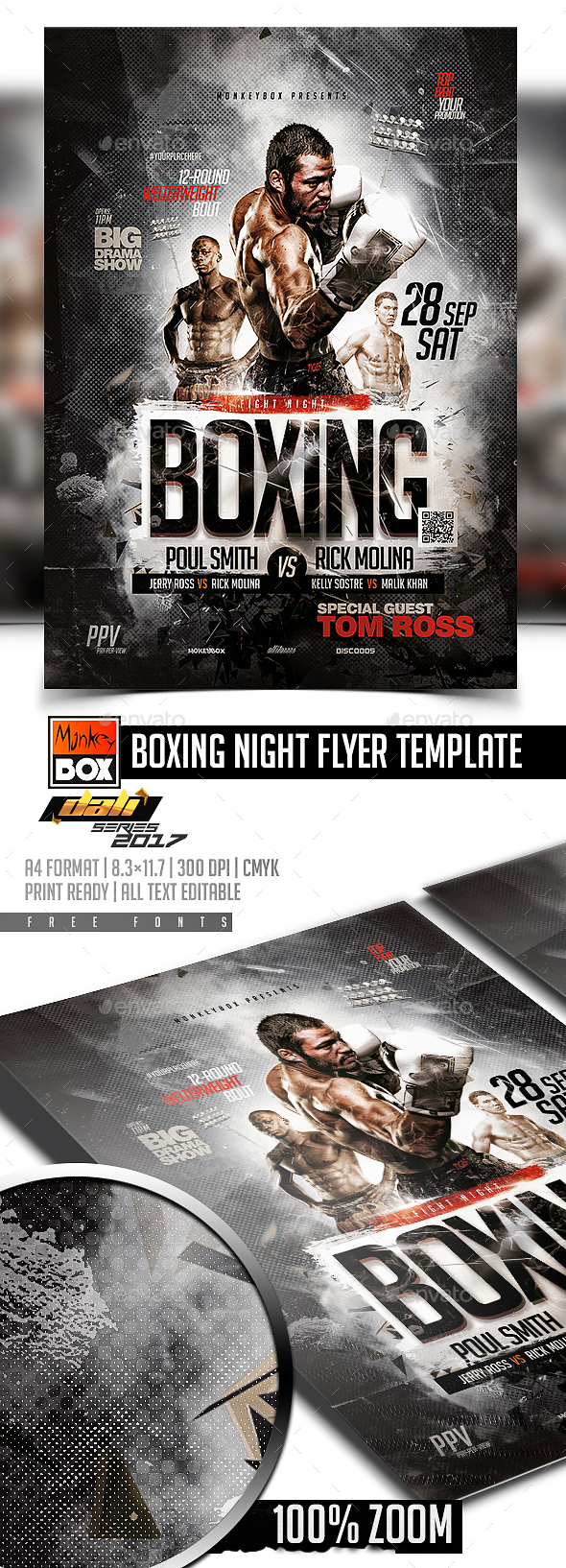 Boxing Night Flyer Template - Flyers Print Templates