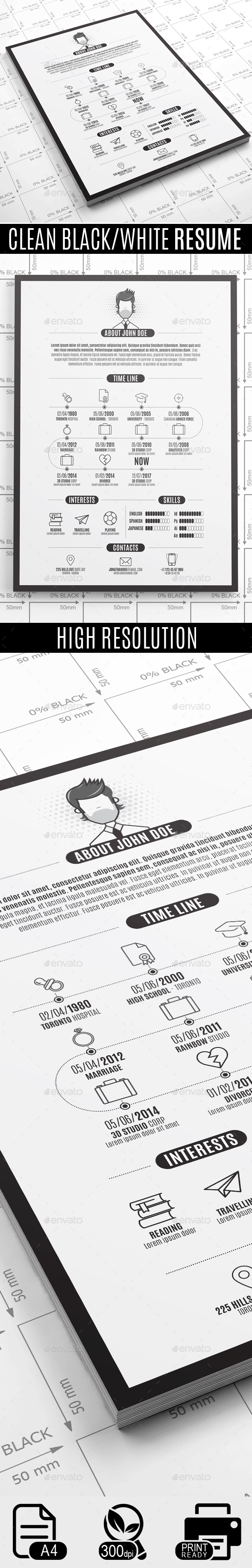 GraphicRiver Clean Black White Resume 20536247