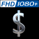 Dollar Sign in Silver With 360 Rotation