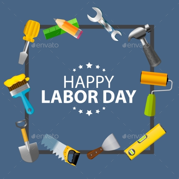 Happy Labor Day Poster Vector Illustration - Miscellaneous Vectors