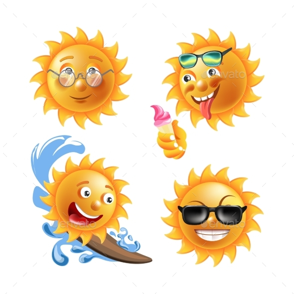 GraphicRiver Sun with Different Faces Isolated 20536582