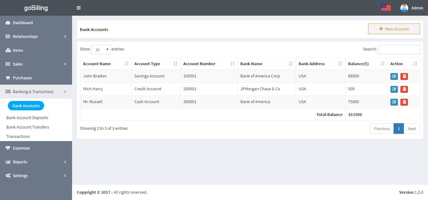 account list template
