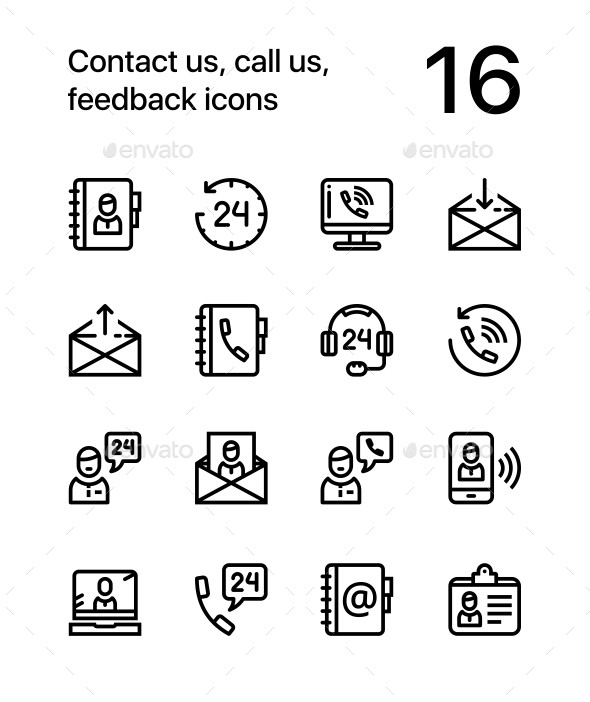 GraphicRiver Contact Us Call Us Feedback Icons for Web and Mobile Design Pack 1 20536669