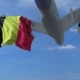 Commercial Airplane Landing Behind Waving Belgian Flag