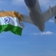 Commercial Airplane Landing Behind Waving Indian Flag - VideoHive Item for Sale