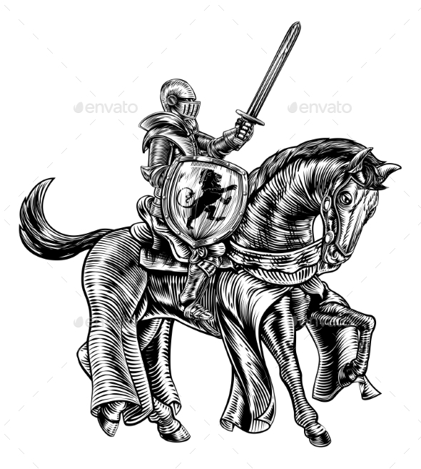 Medieval Knight Horse Vintage Woodblock Engraving - Miscellaneous Vectors