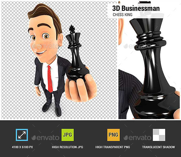 3D Businessman Holding a Chess King - Characters 3D Renders