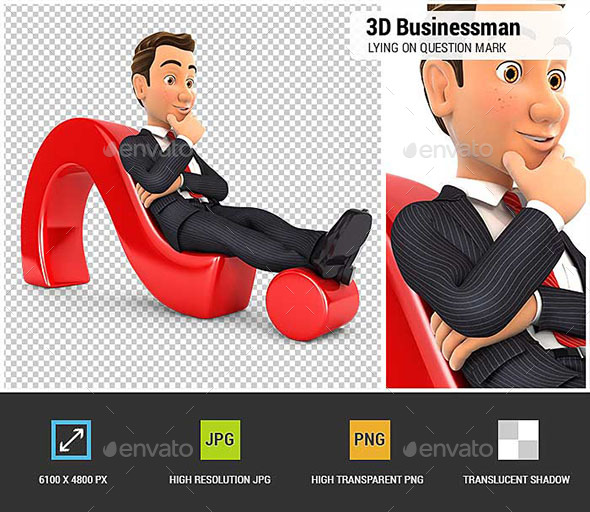 3D Businessman Lying on Question Mark - Characters 3D Renders