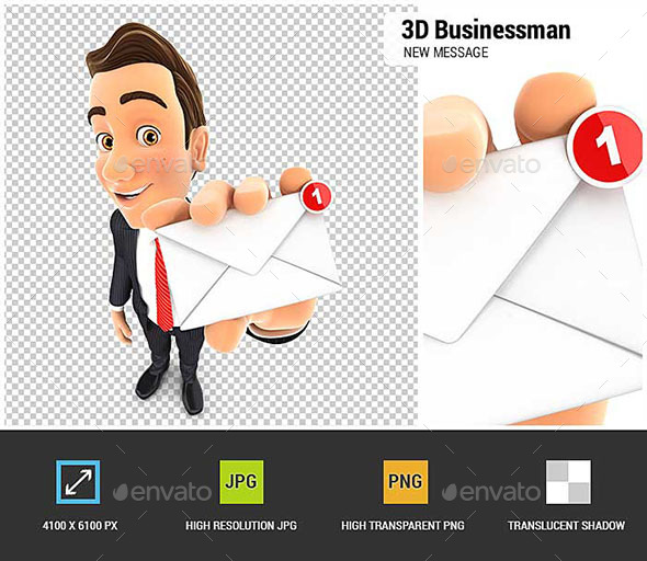 3D Businessman Receiving One New Message - Characters 3D Renders