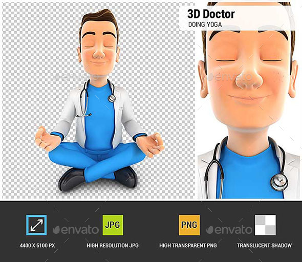 3D Doctor Doing Yoga - Characters 3D Renders