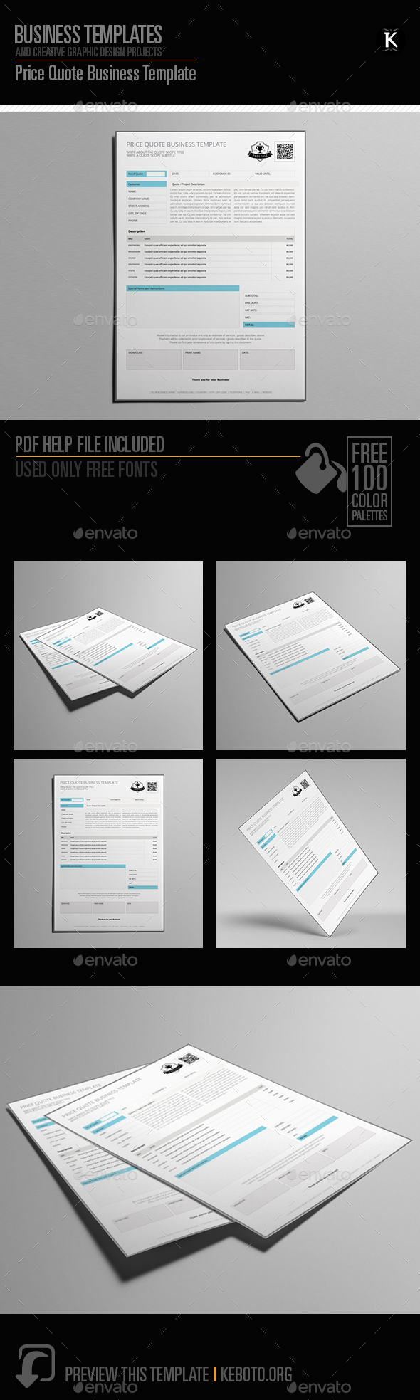 Price Quote Business Template - Miscellaneous Print Templates