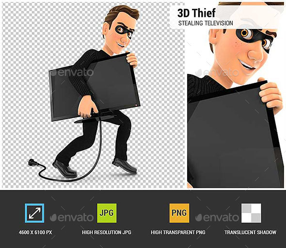 GraphicRiver 3D Thief Stealing a Television 20537153
