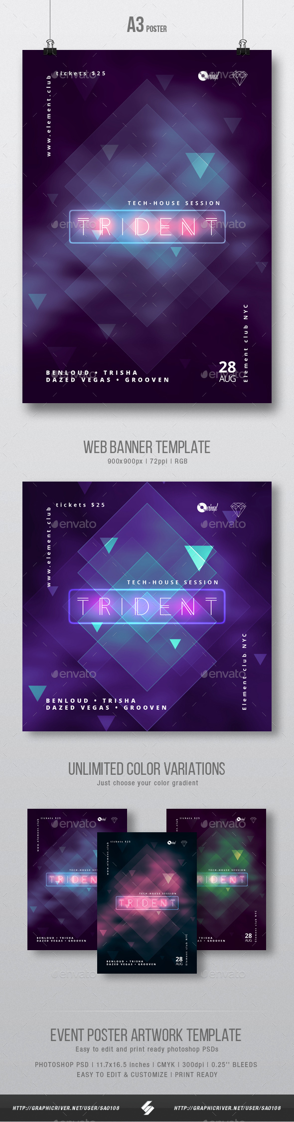 Trident - Neon Party Flyer / Poster Template A3 - Clubs & Parties Events