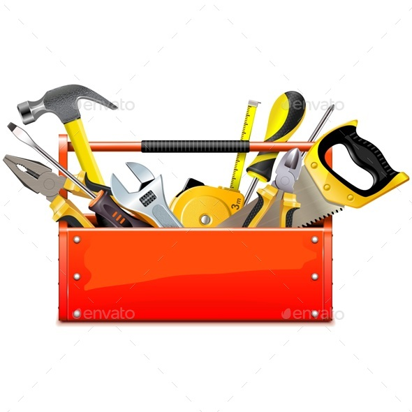 Vector Red Toolbox with Hand Tools - Industries Business