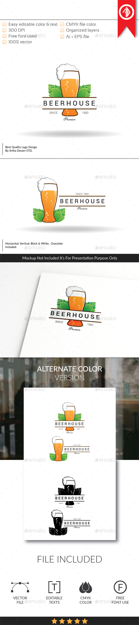 GraphicRiver Beer House Pub Logo Template 20537304