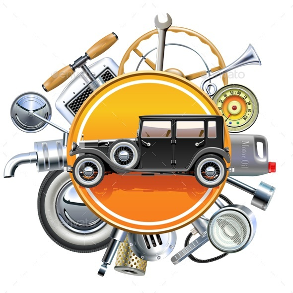 Vector Retro Car Parts with Old Automobile - Industries Business