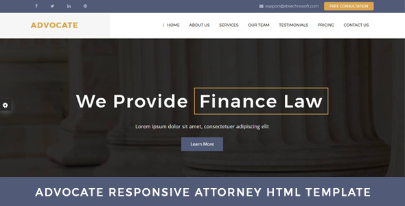 Advocate - Law Firm OnePage HTML Template