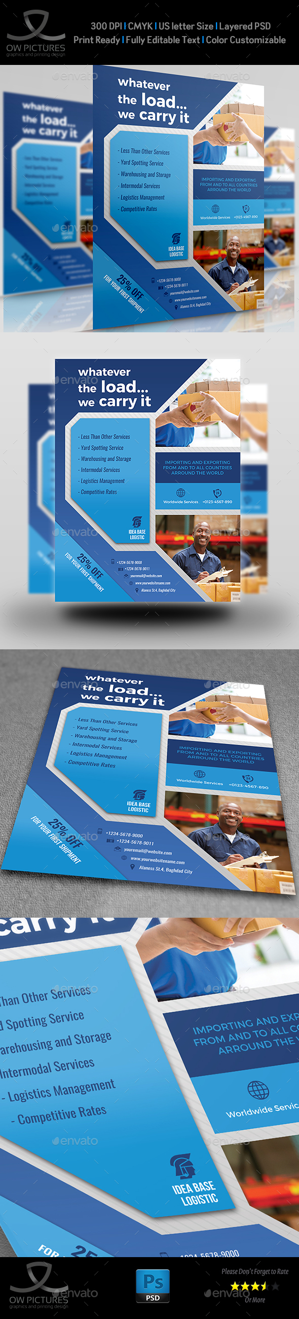 Freight and Logistic Services Flyer Template Vol.6 - Flyers Print Templates