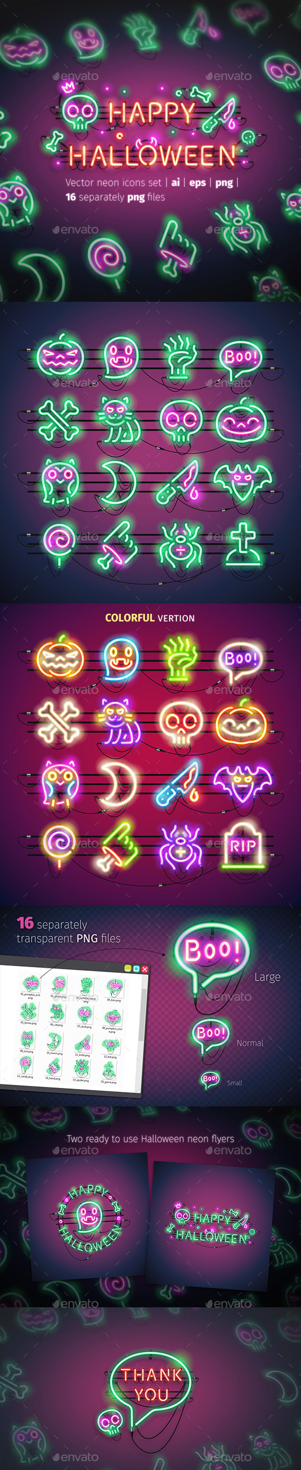 Halloween Neon Icons - Miscellaneous Icons