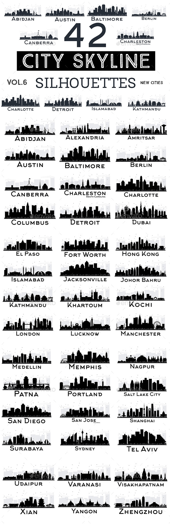 42 City Skyline Silhouettes Set - Buildings Objects
