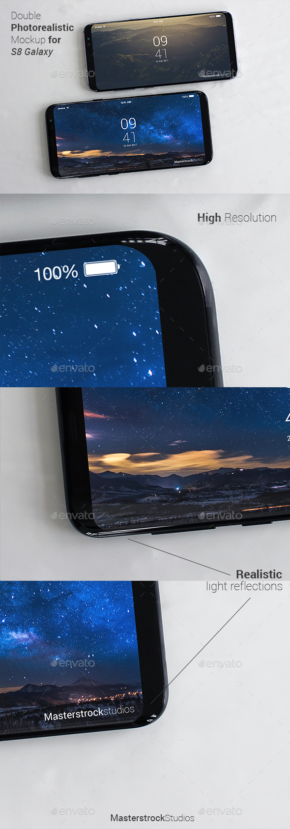 S8 Galaxy Smartphone Photo-realistic Double Mockup - Mobile Displays