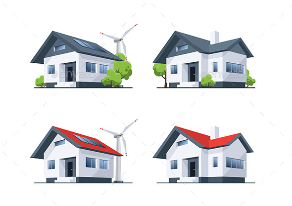 Family Roof House Residential Buildings - Buildings Objects