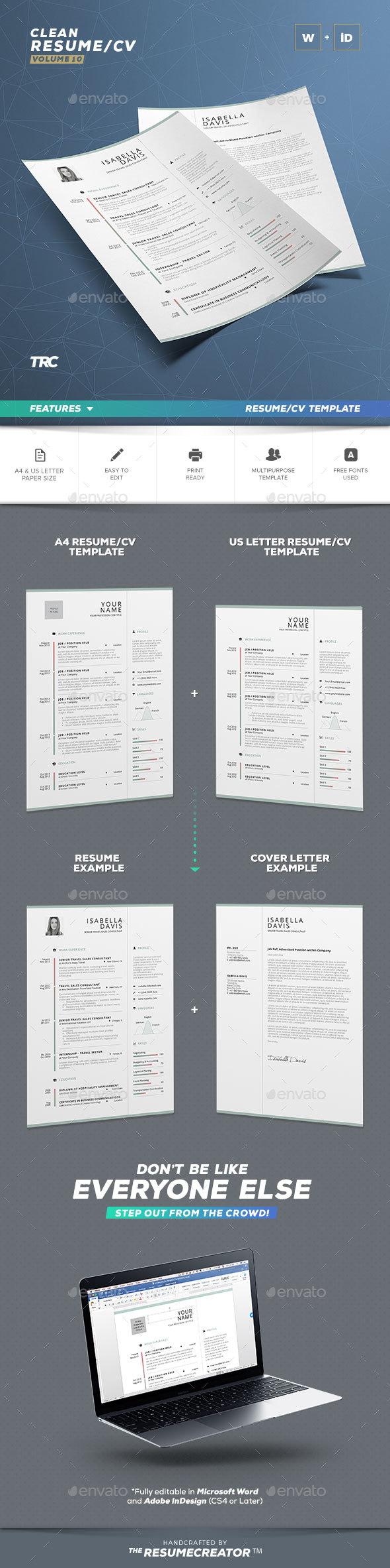 Clean Resume/Cv Volume 10 - Resumes Stationery
