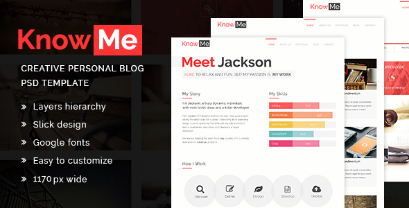 ThemeForest KnowMe A Creative Personal Blog PSD Template 20401829