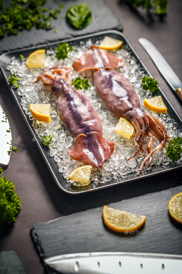 Uncooked fresh cuttlefish - Stock Photo - Images