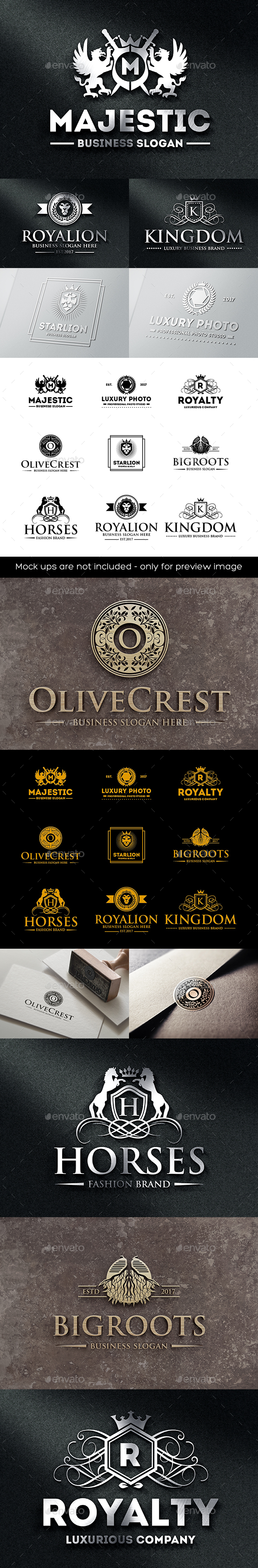 Luxury Heraldic Royal Crest Logo Badges - Badges & Stickers Web Elements