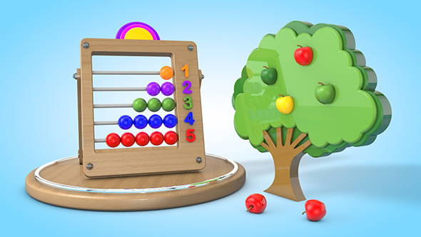 3DOcean Apple tree with kids color wooden count 20538707