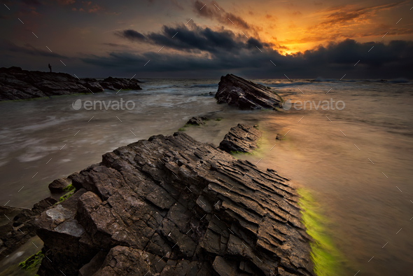 Dawn among the rocks - Stock Photo - Images