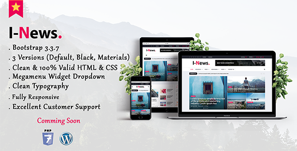 Image of I-News - Bootstrap Responsive HTML News & Magazine Blog Template