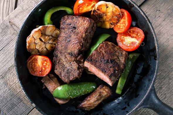 Appetizing beef steak with vegetables - Stock Photo - Images