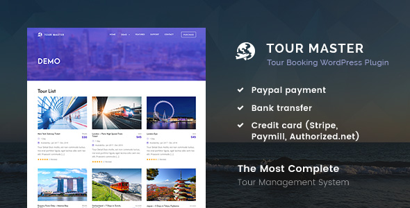 Tour Master – Tour Booking, Travel WordPress Plugin